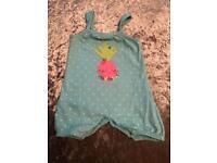Debenhams baby girl pineapple playsuit, 6-9 Months