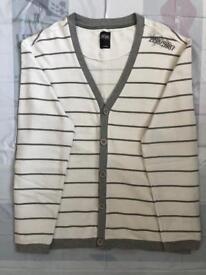 Men's White Striped Cardigan (Size Large)