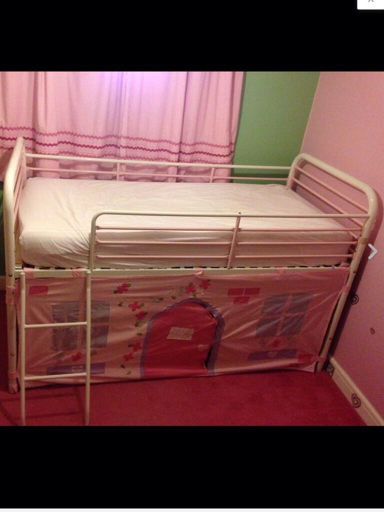 Next pink white metal frame midi sleeper cabin bed with tent den mattress in darlington Bed with mattress
