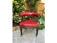 Antique leather captains chair
