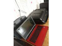 Hp laptop red and hp office 4650 printer