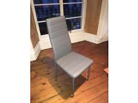 6 x modern leather dining chairs with metal legs