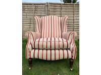 Elegant Laura Ashley Southwold Wingback Armchair in Luxford Stripe Cranberry Fabric