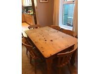 Farmhouse Style Solid Pine Table and Chairs
