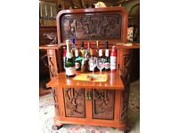 Heavily Carved Oriental Cocktail Bar Drinks Cabinet - See Delivery