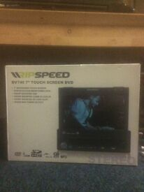 RIPSPEED in car DVD player 7 inch flip out screen single din unit brandnew