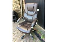 Faux Brown Leather Office Chair