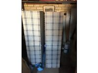 4ft 6in double divan bed base in blue & white check. Excellent condition used 8 times. no mattress