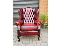 Chesterfield genuine oxblood leather SAXON Wingback chair EXCELLENT CONDITION! BARGAIN!