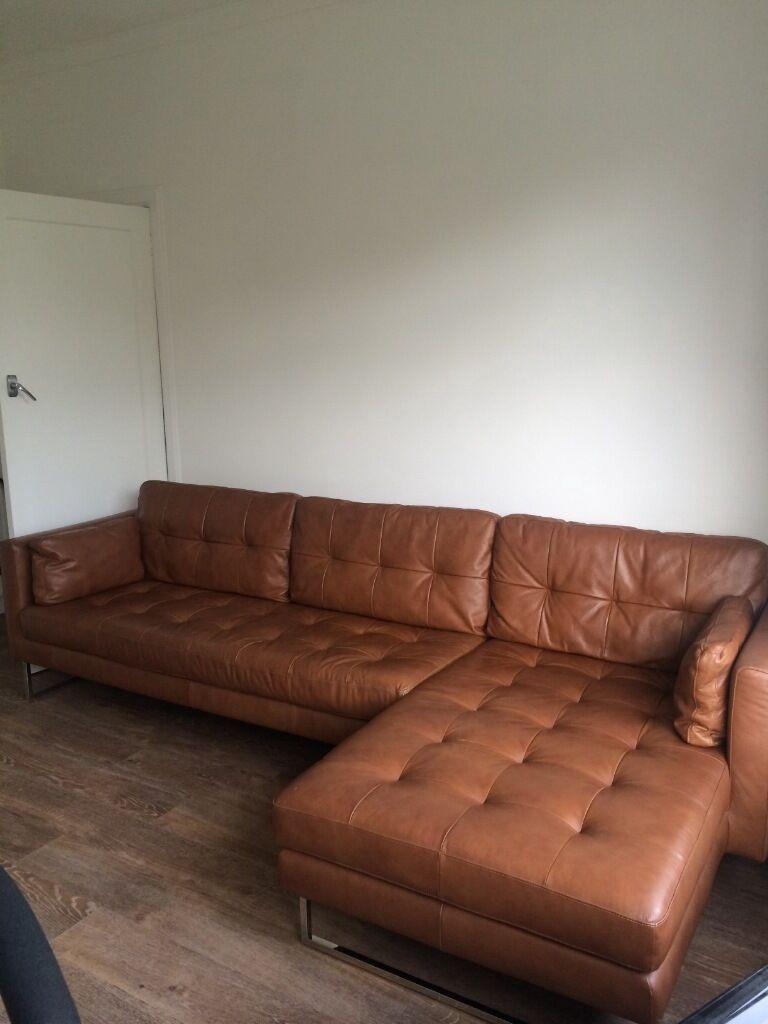 Dwell Tan Leather Paris Corner Sofa
