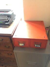 Vintage index card filing cabinet
