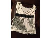 Cream and black top new look size 10