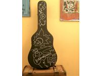 Customised Vintage Blues Style Acoustic Guitar Hardcase: 'Learn To Play The Song'