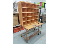 Vintage French Steel Post Office Sorting Desk Pigeon Holes Industrial Furniture