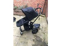 Bugaboo cameleon black edition pushchair, carry cot and accessories