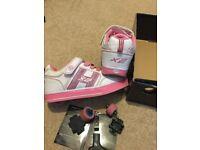 Heelys Bolt Plus White/Pink Heely Roller light up Shoe - UK Size 2 for children