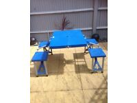 Folding camping table with 4 seats