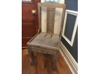Antique Detailed Hand Carved Solid Oak Heavy Wooden Chairs (5) For Restoration
