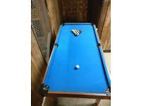 Quarter size foldable pool table