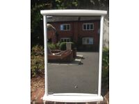 White bathroom cabinet with single mirrored door in perfect condition