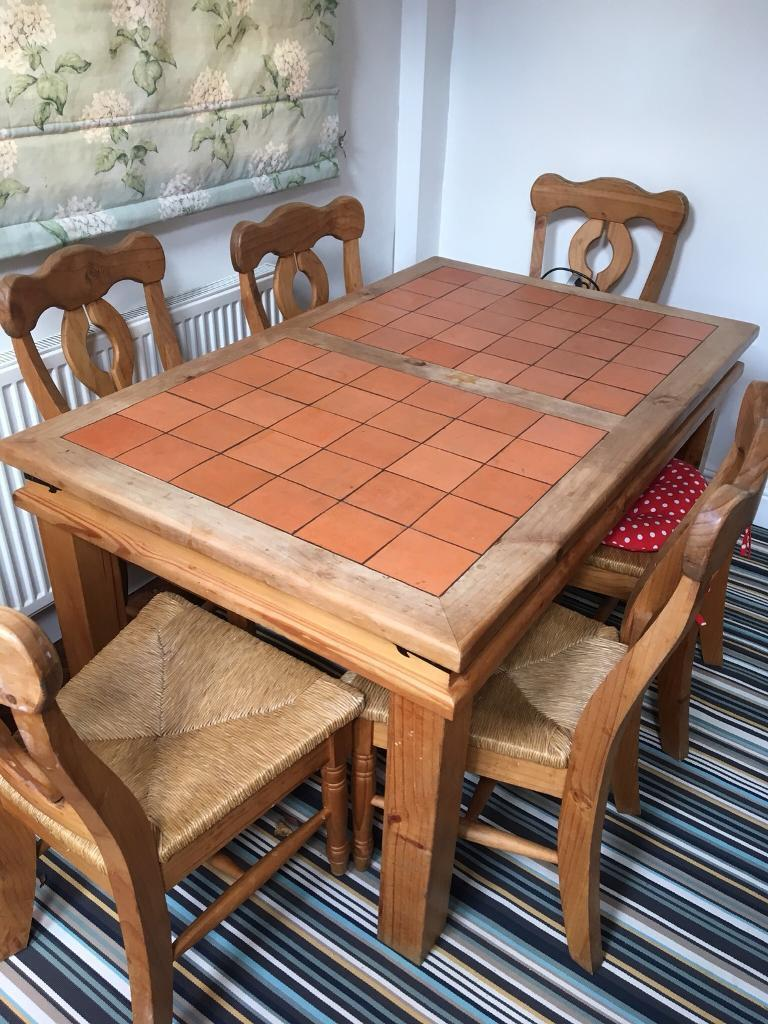 Terracotta Tile Top Dining Table