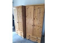 2 X Double Pine Wardrobes with Drawers