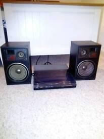 Retro 80s jcv turntable and speakers