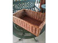 Large willow Bread/Log/ storage/ Hamper Basket 2ft l x 1ft 4'' x 8''high.Good condition. £15.