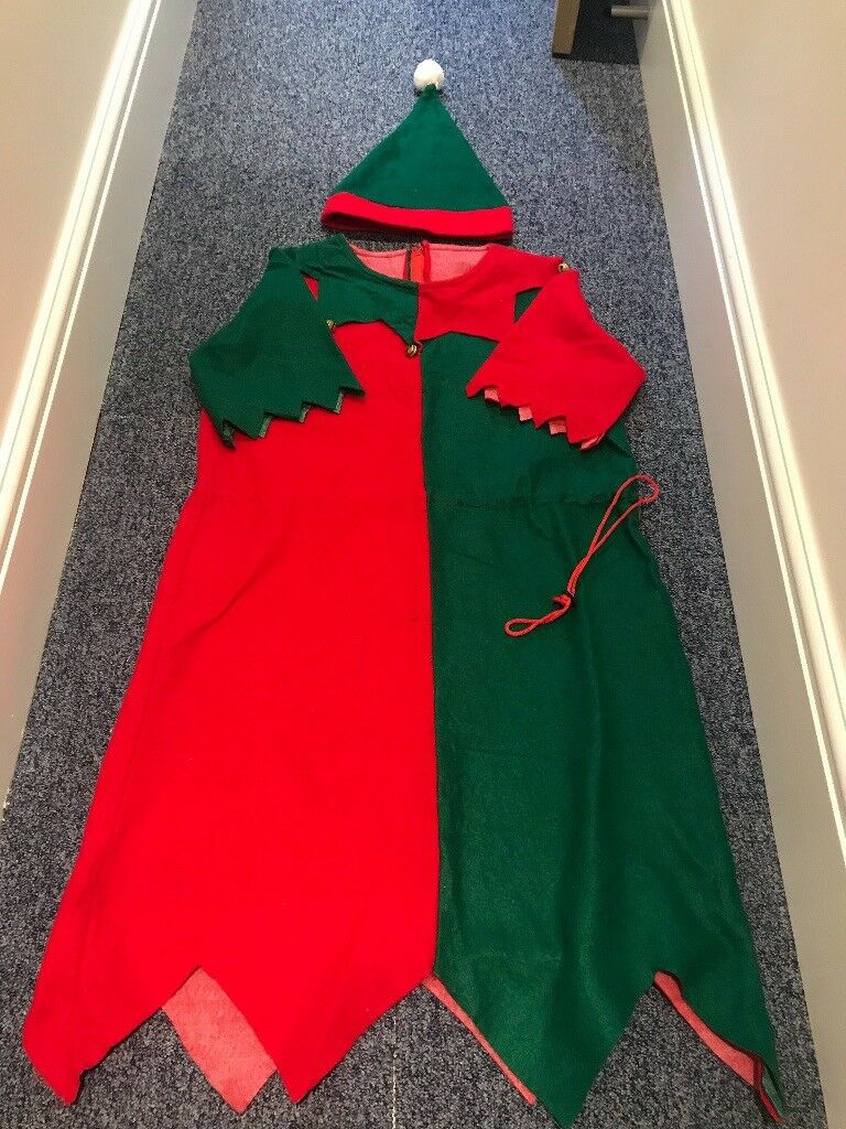 afbce3a2a894 Adult Christmas Elf Jester Fancy Dress Outfit Costume One Size | in ...