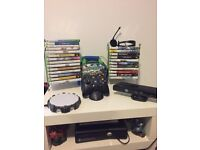 Xbox 360 console with Kinect, games, 2 wireless rechargeable controllers, skylanders and portal