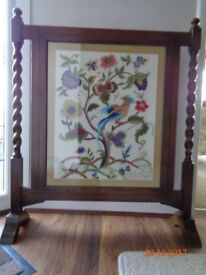 Fire Screen with Hand Embroidered Panel - Oak Barley Twist side support