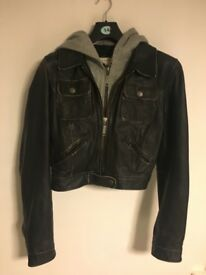Leather Jacket with detachable hood