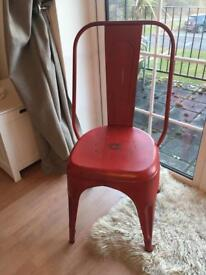 Red metal tolix industrial chic dining table chair