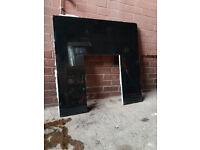 Granite back plate fireback for gas fire
