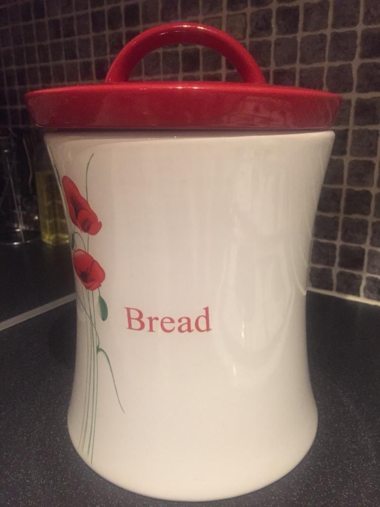 Large Red & White Poppy Bread Bin