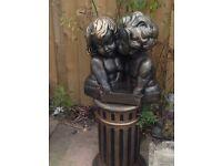 Beautiful big bronze affect girl and boy bust on plinth