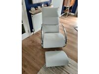 White Rocking Chair and stool