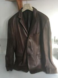 Peter Werth Brown Blazer Style Leather Jacket Size 4 Large Perfect Condition Mens