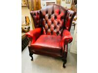 Beautiful Thomas Lloyd oxblood leather deep button Queen Anne wingback chesterfield