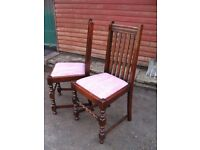 English oak dining chairs c.1920, 2 - pair of antique vintage chairs, barley twist chairs classic