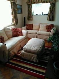 Two settee's and foot stool