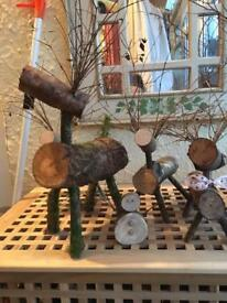 Christmas handmade wooden Reindeers and Snowmen