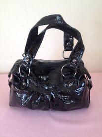 Black Patent Zipped Handbag