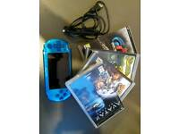 Sony Playstation PSP 3003 Portable Handheld Gaming System Console (Blue) + Games & Memory Card