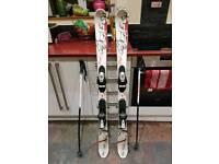 Salomon kids skis 131cm and poles 90cm