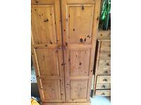 Solid antique pine double wardrobe
