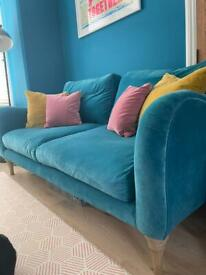 Large Loaf Bumpster Sofa in turquoise clever velvet
