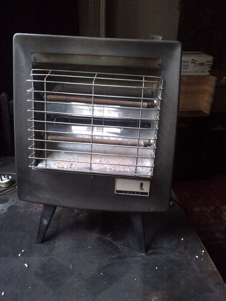 old vintage 2-bar Falks fire or radiant heater in perfect working order collectors item