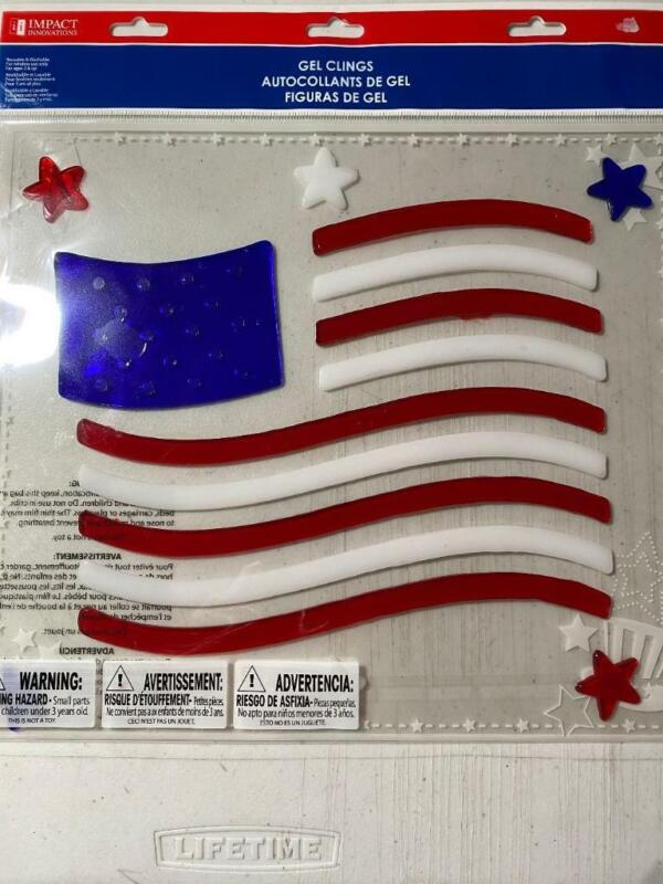 Patriotic USA Flag Window Gel Stickers Clings 4th of July Decor Red White Blue