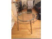 glass tea table, glass dinner table, white bookshelf glass shelfs, folding chairs, tv wooden table,